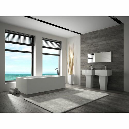 Transolid SVP6728-01 Portia 66-in x 28-in Resin Stone Freestanding Bathtub with end drain, in White - BNGBath