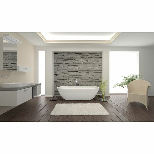 Transolid SSW7131-01 Sherwood Grande 71-in L x 32-in W x 21-in H Resin Stone Freestanding Bathtub with center drain, in White - BNGBath