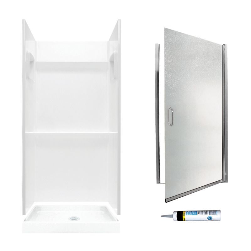 73.25-In X 36-In X 36-In 3-Piece Alcove Shower Kit Chrome Privacy Glass by Swan Veritek - BNGBath