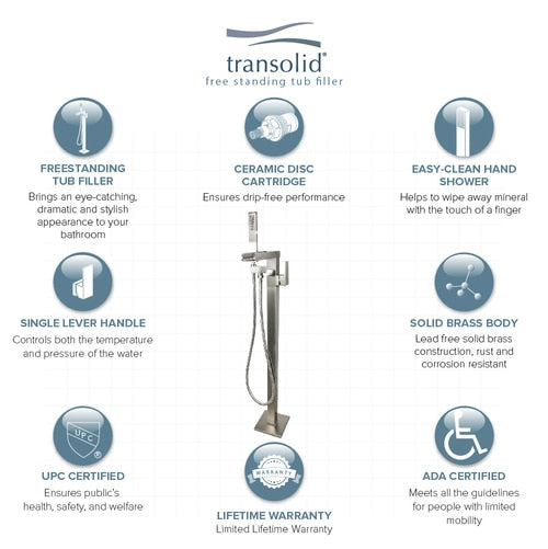 Transolid Roslyn Floor Mounted Tub Filler with Hand Shower, Brushed Nickel - BNGBath