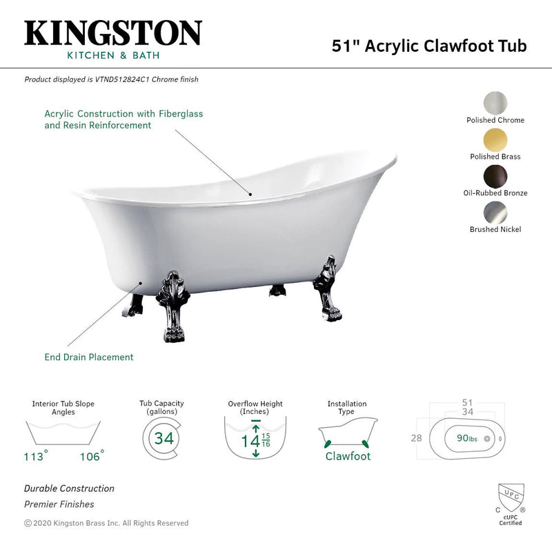 51-Inch Acrylic Single Slipper Clawfoot Tub (No Faucet Drillings) - BNGBath