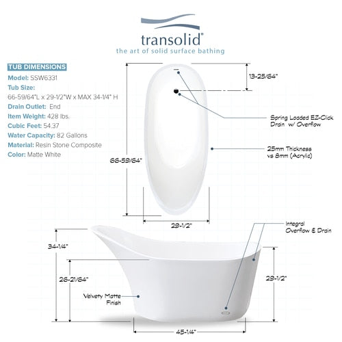 29.53-in W x 66.93-in L x 34.65-in H Bathtub White - BNGBath