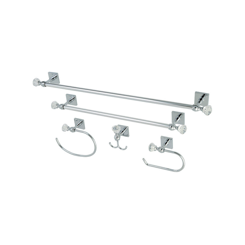 Kingston Brass BAHK70512478C 5-Piece Bathroom Accessory Combo, Polished Chrome - BNGBath