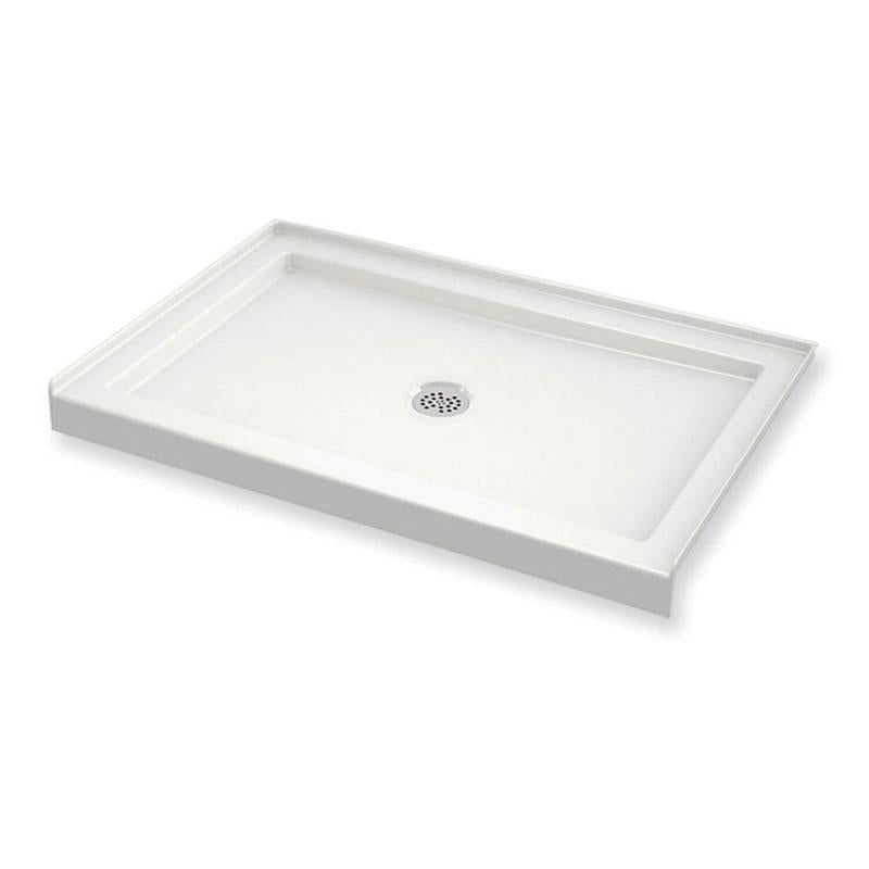 48in X 36in Rectangular Acrylic Shower Base With Round Center Drain, In White - BNGBath