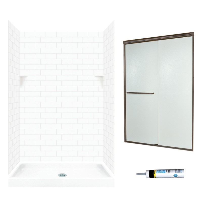 48-In X 34-In X 72-In 5-Piece Alcove White Subway Tile Shower Kit Swanstone Bronze Privacy Glass  Solid Surface - BNGBath