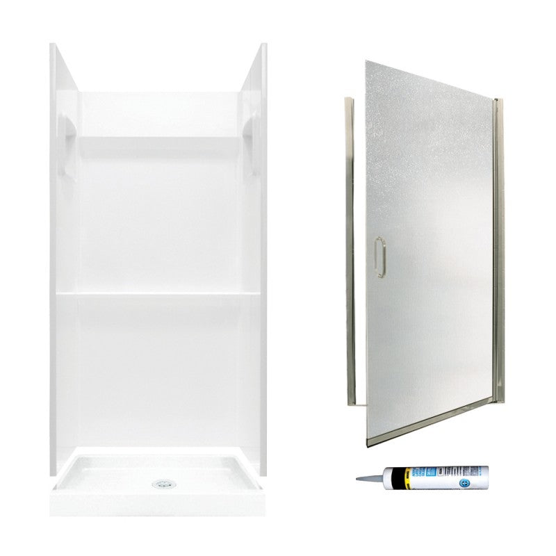 73.25-In X 32-In X 32-In 3-Piece Alcove Shower Kit White with Brushed Nickel Privacy Glass By Swan Veritek - BNGBath