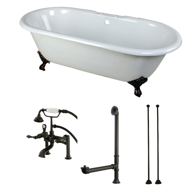66-Inch Cast Iron Dbl Ended Clawfoot Tub Combo w/Faucet and Supply Lines - BNGBath