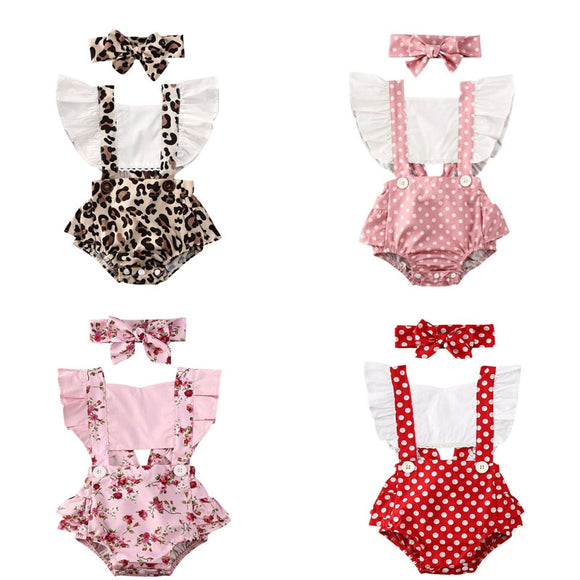 0-24M Baby Girl Flower Ruffle Romper Newborn Backless Jumpsuit Headband Girls Sunsuit Outfit 2pcs Baby Summer Clothing