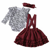 0-24M Leopard Newborn Infant Baby Girl Clothes Set Autumn Spring Long Sleeve Romper Ruffles Skirts Outfit
