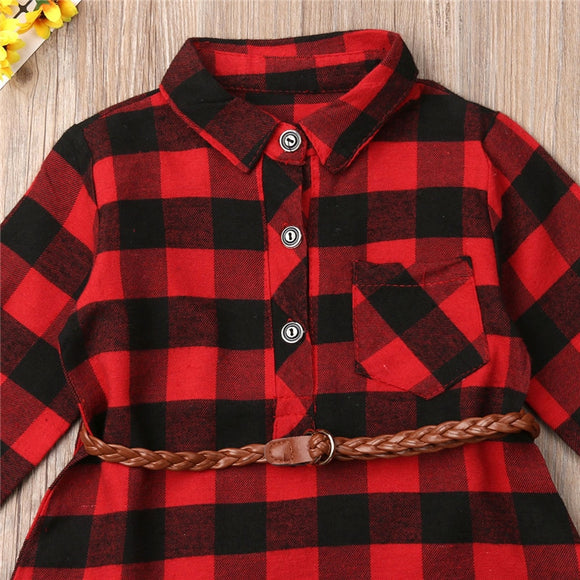 0-5T Christmas Toddler Newborn Kids Baby Girls Dress Red Plaid Cotton Princess Party Long Sleeve Dress Clothes Girl Winter Dress