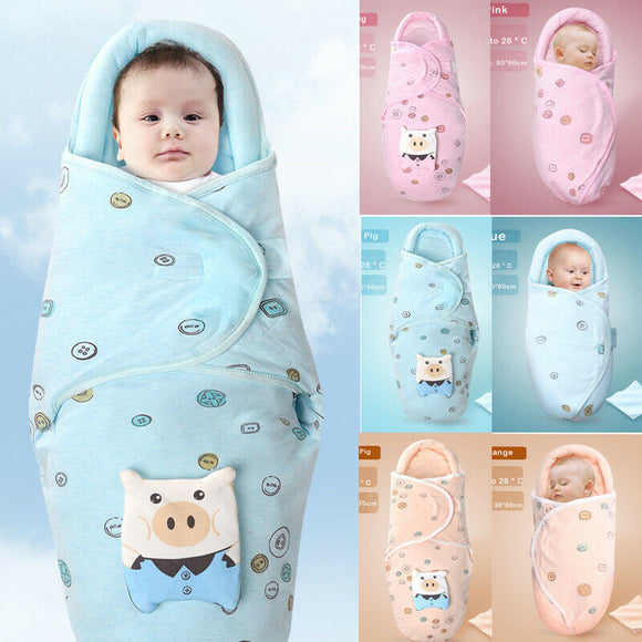 0-8M Newborn Baby Cotton Blanket Swaddle Cute Cartoon Toddler Winter Warm Sleeping Bags Sleep Sack Little Baby Stroller Wrap