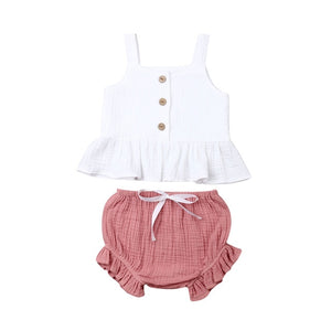 1-5Years Kid Newborn Baby Girls Button Sleeveless Tank Tok + mini  shorts Outfits  2pcs Clothing Set