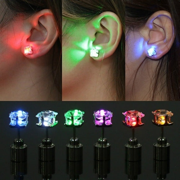 1 Pair Unique Boys Girls LED Light Christmas Gift Halloween Party Square Night Bling Studs Earring Led Party Music Festival Band