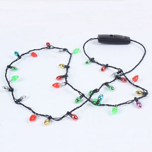 1 Pcs Mini Flashing Light-up Blinking Christmas Lights Costume Necklace 8 LED Bulbs Christmas Decorations 669