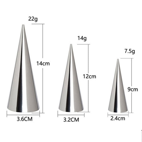 12/24pcs Conical Stainless Steel Large Screw Croissant Tool Baking Pastry Cones Shape  H99F