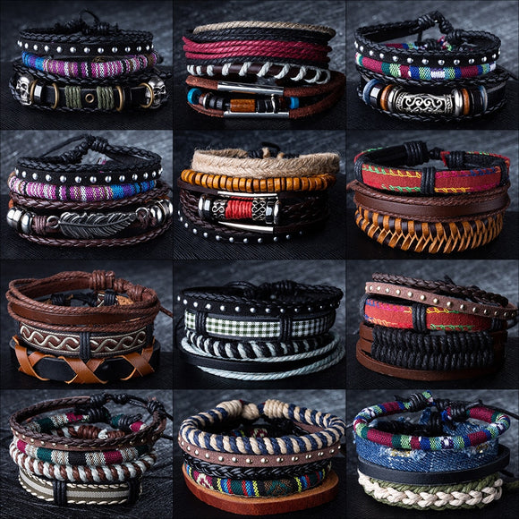 12 Style Metal Leather Bracelets Men Jewelry Vintage Classic Retro Plant Charm Bracelet Bangles