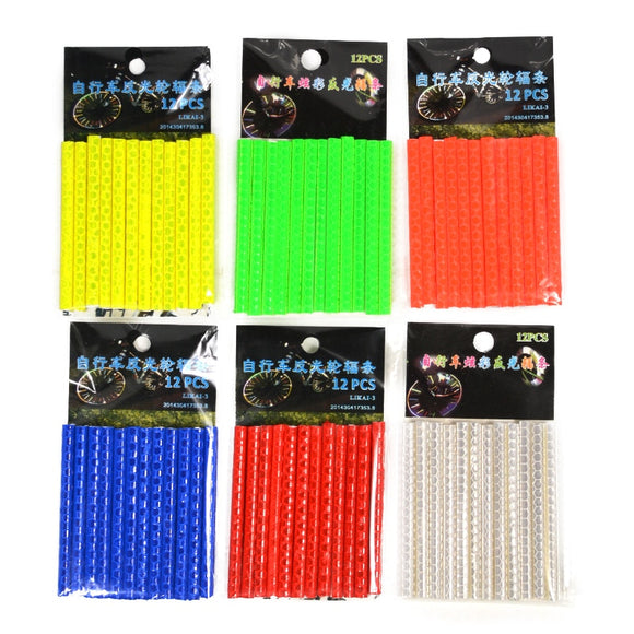 12Pcs Bicycle Lights Wheel Rim Spoke Clip Tube Safety Warning Light Cycling Bike Strip Reflective Reflector Bicycle Accessories