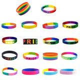 18 Types Unisex LGBT Rainbow Letters Sports Wristband Six-Color Gay Lesbian Pride Silicone Rubber Wristlet Bracelet Party Parade