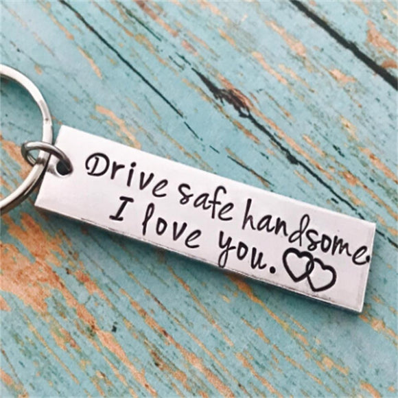 1PC Drive Safe Aluminum Couples I Love You Trucker Keychain Stainless Steel Engraved Keychain Husband Boyfriend Gift