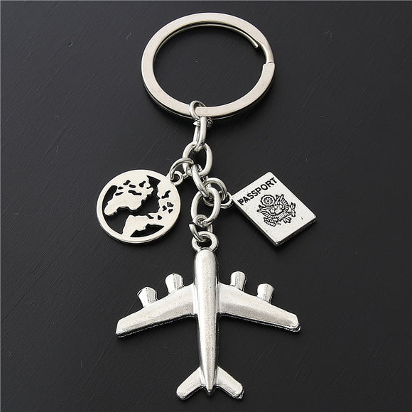 1PC Earth Airplane Keychains No Matter Where Pendant Travel Keyring