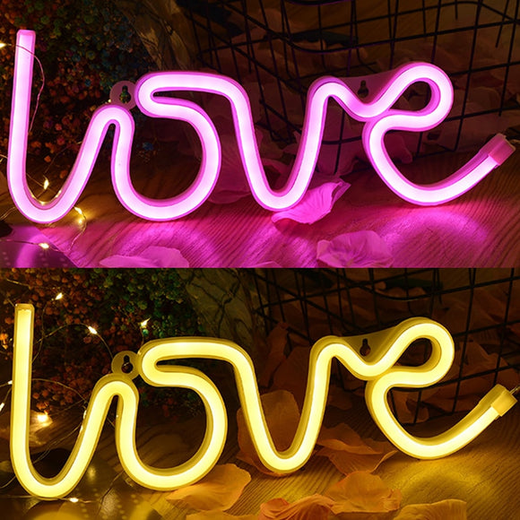1Pc Led Neon Light Colorful Love Shape Neon Sign Night Light Led Lamp For Birthday Wedding Party Home Decor Valentine's Day Gift
