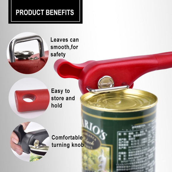 1pc Plastic Professional Kitchen Tool Safety Hand-actuated Can Opener