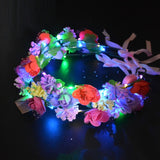 1pcs Flashing Glow Flower Headband Women Crown Wreath Light  Hairband Rave LED Party Supply Wedding Christmas Hair Wear Navidad