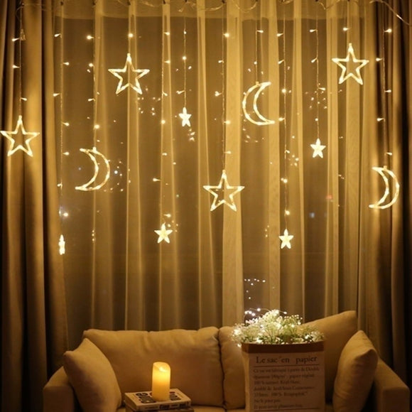 2.5M LED Lights Romantic Moon Star LED Curtain String Lighting Strip Holiday Wedding Garland Party Decoration