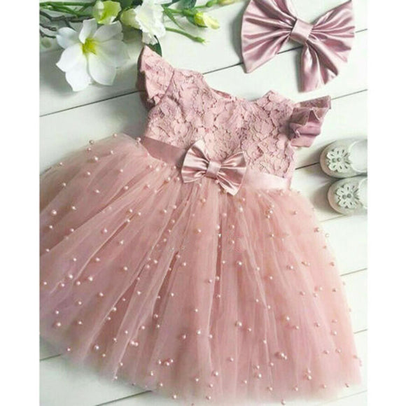 2-7Years Toddler Kid Girl Princess Dress Lace Tulle Wedding Birthday Party Tutu Dress