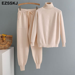 2 Pieces Set Women Knitted Tracksuit Turtleneck Sweater + Harem pants