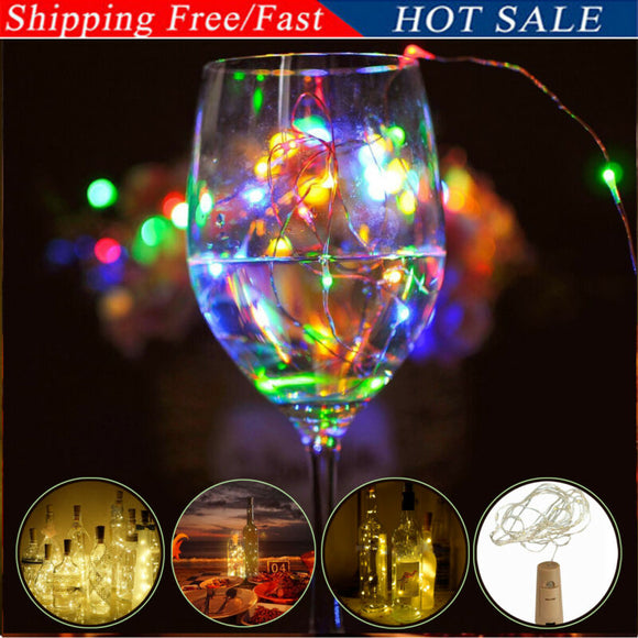 20 LED String lights Holiday lighting Fairy Garland For Christmas Tree Wedding Party Decoration Battery Cork Shaped