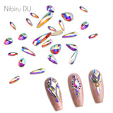 20 pcs Crystal AB Teardrop Nail Crystals Stones Drop Shape Flat Back Rhinestones