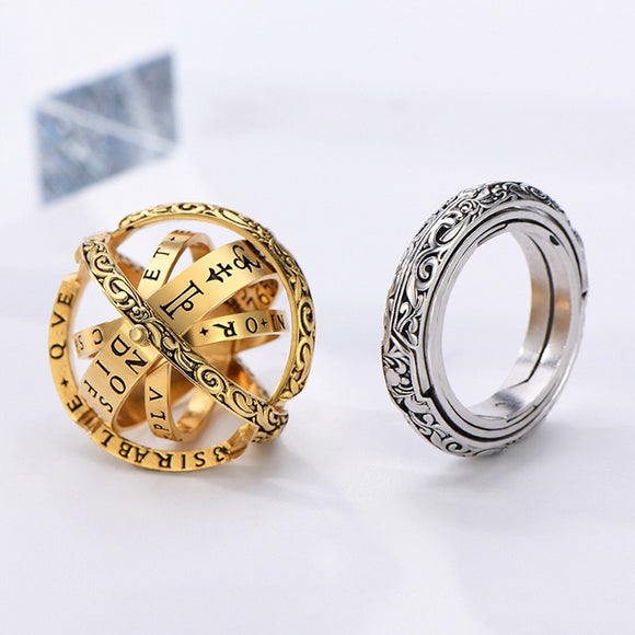 Astronomical Sphere Ball Ring Open Locket Cosmic Finger Ring for Women Men  Gold/Sliver Couple Lover Jewelry Accessories