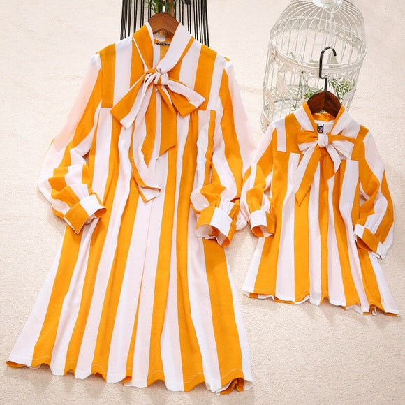 New Fashion Mommy and Me Family Matching Yellow Striped Dress