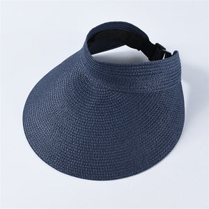 Braid Hat Big Brim Visor Straw Sun Cap Summer Shades Cap For Women