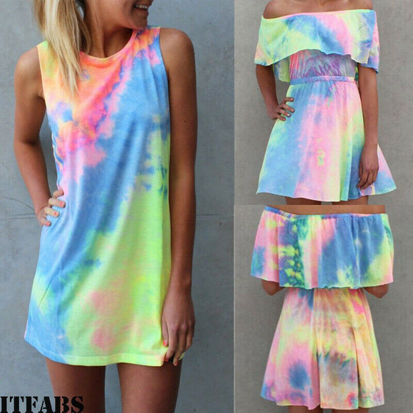 Sexy Women Sleeveless Party Rainbow Printed Glamorous Mini Dress Tie Dyeing Graffiti Beach Vestidos