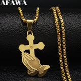 Cross Stainless Steel Chain Necklaces for Men Gold Color Necklace Chain Jewelry