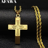 Fashion Big Long Stainless Steel Necklace for Men Gold Color Cross Jesus Chain Necklace Jewerly kolye erkek