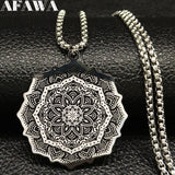 Fashion Wicca Lotus Stainless Steel Chain Necklace for Men Silver Color Black Statement Necklace