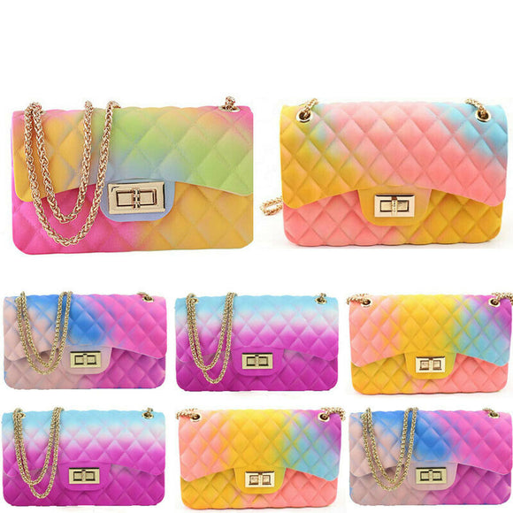 2020 New Fashion Women Ladies Jelly Chain Bag Women's Rainbow PVC Bag Shoulder Bag Handbag