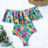 Print Ruffle Swimsuit Bodysuit Monokini Female Padded Bathing Suits Beach Wear Summer