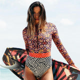 Print Floral One Piece Swimsuit Long Sleeve Swimwear Women Bathing Suit