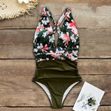 2020 Sexy One Piece Swimsuits Female Shoulder Floral Women Swimwear