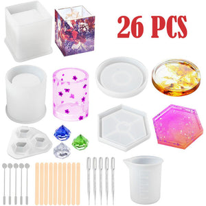 26Pcs Water Drop Shape Silicone Mold For Resin Forms Crystal Diamond Bracelet Pendant Jewelry Doming Mould Resin Casting