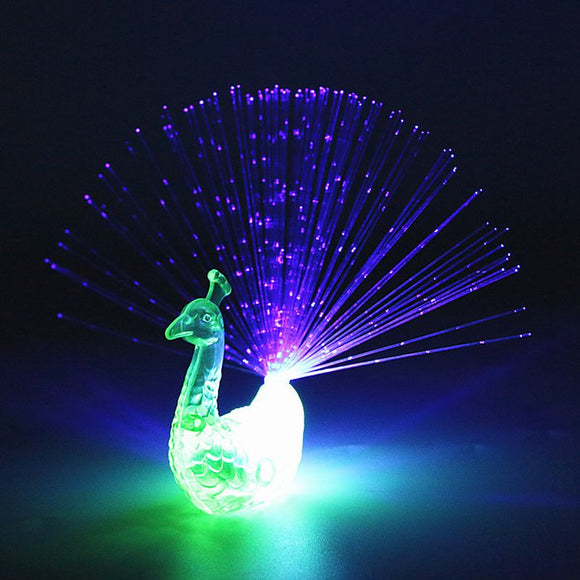 2PCS LED Glow Peacock Finger Light Luminous Ring Lamp Toy Flash Kid Fluorescent Shiny Neon Flashing Party Gift Decoration