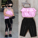 Pink Top Ruffle+Cross Bandage Pant Children Clothing