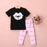 2pcs baby set!! Newborn Infant Kids Baby Girls Clothes Set Big Lip  Black T-shirt +Pink Eyelash Pant Outfits Clothes Set 0-4Y