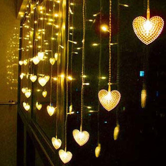 3.5m 16 Hearts LED Icicle Curtain lights LED String Fairy Strip Festival Holiday Lights Christmas Wedding Decoration Light EU/US