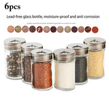 3/6pcs Stainless Steel Lid Condiment Pot Seasoning Bottle Glass