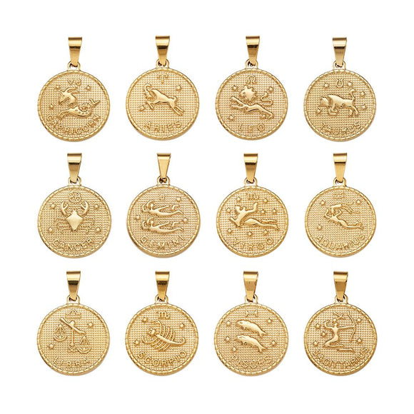 304 Stainless Steel Pendant Sets Flat Round with Twelve Constellation/Zodiac Sign Golden 29x25x3.2mm, Hole: 9x4.5mm; 12pcs/set